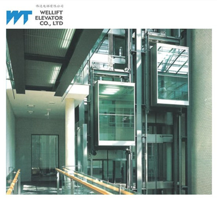 VVVF Control Panoramic Glass Elevator Adopts Gearless Drive Load 630-1600KG