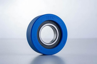 Specification Ф80*25 SJEC Escalator Parts , Blue Color Escalator Roller